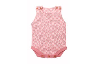 Azura Exchange Pink Fish Scale Knit Buttoned Baby Romper