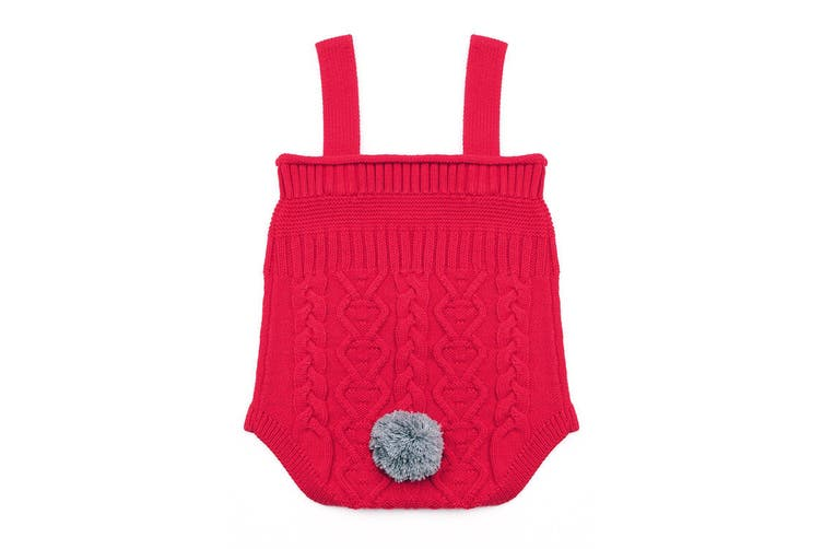 Azura Exchange Red Cable Knit Bunny Tail Baby Romper
