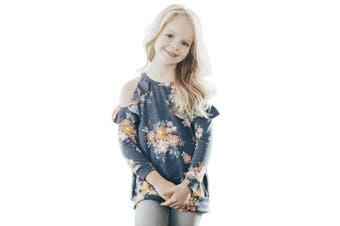 Azura Exchange Floral Cold Shoulder Ruffles Girl Top