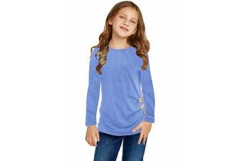 Azura Exchange Sky Blue Little Girls Long Sleeve Buttoned Side Top
