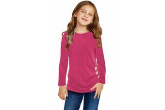 Azura Exchange Rose Little Girls Long Sleeve Buttoned Side Top
