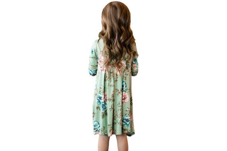 Azura Exchange Floral Mint Swing Dress with Hidden Pockets