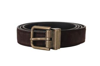 Dolce & Gabbana Brown Goatskin Gold Buckle Mens Belt