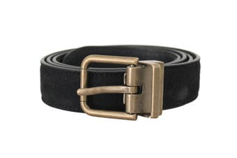 Dolce & Gabbana Blue Goatskin Suede Gold Buckle Mens Belt