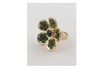 Azura Exchange Flower rhinestone adjustable ring