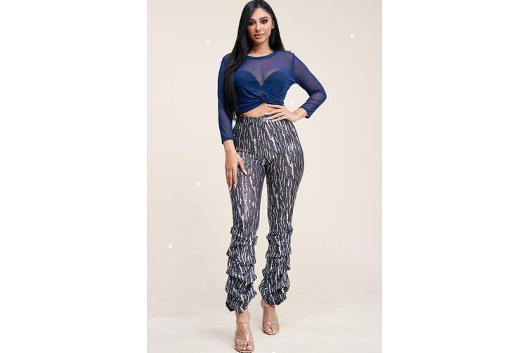 Azura Exchange Sequin High Rise Stacked Pant And 3/4 Sleeve Power Mesh Top Two Piece Set