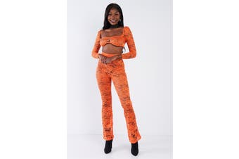 Azura Exchange Sheer Floral Lace Crop Square Neck Top & High Waist Flare Pant Set