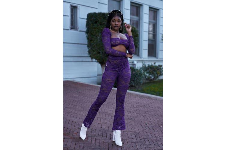 Azura Exchange Sheer Floral Lace Crop Square Neck Top & High Waist Flare Pant Set