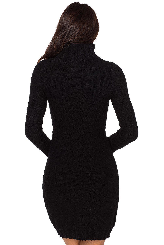 Azura Exchange Black Stylish Pattern Knit Turtleneck Sweater Dress