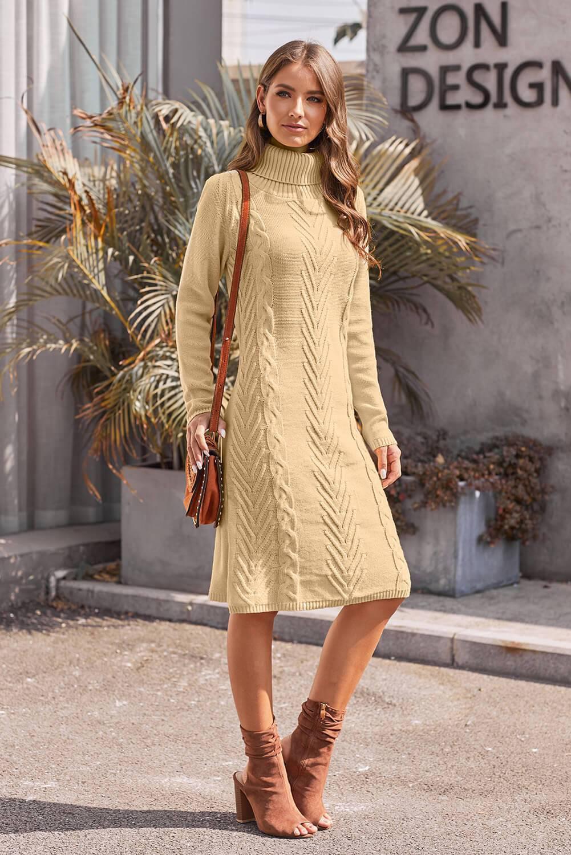 Azura Exchange Khaki Hand Knitted High Neck Sweater Dress