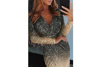 Azura Exchange Black Ombre Sequin Wrapped Ruched Irregular Dress