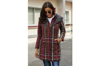 Azura Exchange Brown Vintage Plaid Cotton Quilted Trench Coat