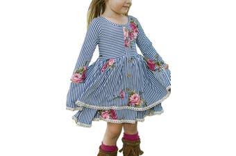 Azura Exchange Blue Sweet Striped Floral Kids Dress