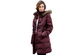 Azura Exchange Burgundy Toggle Button Quilted Coat for Women