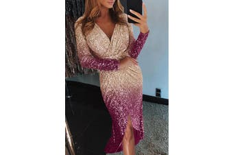 Azura Exchange Apricot Ombre Sequin Wrapped Ruched Irregular Dress