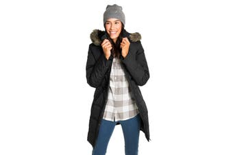 Azura Exchange Black Toggle Button Quilted Coat for Women