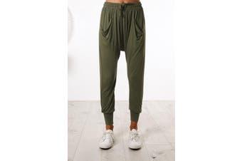 Azura Exchange Green Casual Drop Crotch Tapered Leg Pants