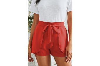 Azura Exchange Red Plain Drawstring Waist Fashion Shorts