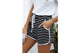 Azura Exchange Black Disconnect Striped Cotton Blend Pocketed Shorts