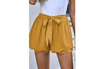 Azura Exchange Khaki Scalloped Tie Front Shorts
