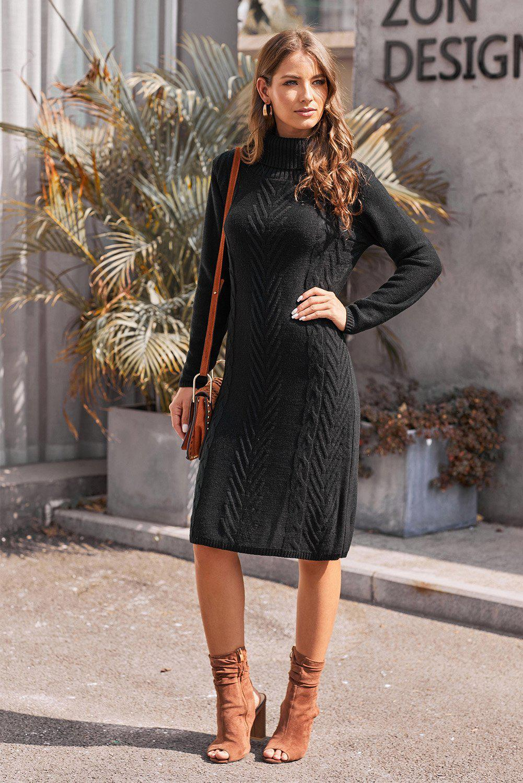 Azura Exchange Black Hand Knitted High Neck Sweater Dress