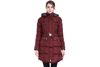 Azura Exchange Burgundy Cotton Quilted Longline Hooded Coat