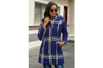 Azura Exchange Blue Vintage Plaid Cotton Quilted Trench Coat