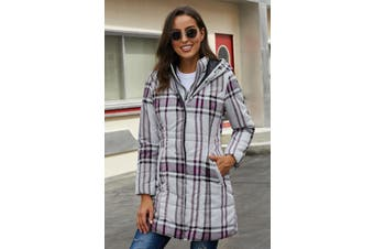 Azura Exchange Gray Vintage Plaid Cotton Quilted Trench Coat