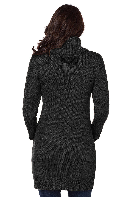 Azura Exchange Black Cowl Neck Cable Knit Sweater Dress