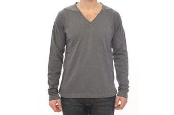 Dolce & Gabbana Gray Cotton Logo Crew-neck Sweater