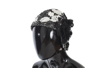 Dolce & Gabbana Gray Wool Floral Lace Studded Cloche Hat