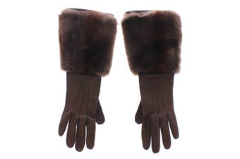 Dolce & Gabbana Brown Rabbit Fur Lambskin Leather Gloves Silk