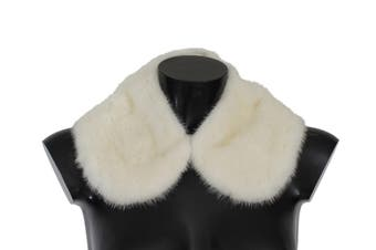 Dolce & Gabbana White Mink Fur Shoulder Collar Scarf