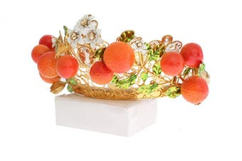 Dolce & Gabbana Multicolor Brass Crystal Sicily Orange Tiara