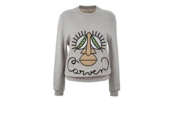 Carven Carven Woven Gray Cotton Embroidered Face Sweatshirt