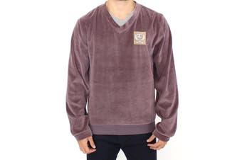 Cavalli Purple v-neck cotton sweater