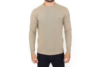 Ermanno Scervino Beige Wool Cashmere Crewneck Pullover Sweater
