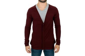 Costume National Bordeaux zipper cardigan sweater