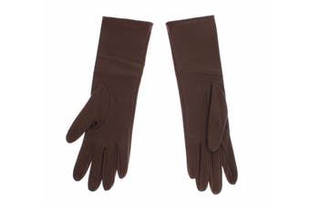 Dolce & Gabbana Brown Leather Wrist Slim Womens Gloves