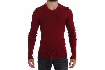 Dolce & Gabbana Red Silk Crewneck Ribbed Sweater