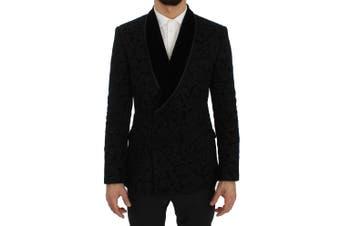 Dolce & Gabbana Black Floral Ricamo Slim Blazer Jacket