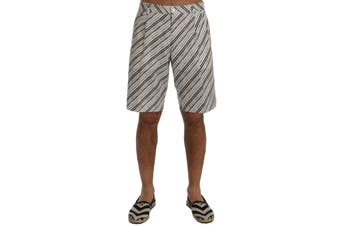Dolce & Gabbana White Black Striped Casual Shorts