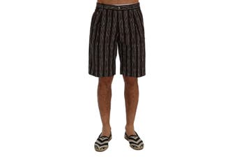 Dolce & Gabbana Bordeaux White Striped Hemp Casual Shorts