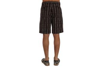 Dolce & Gabbana Bordeaux White Striped Hemp Casual Shorts