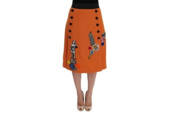 Dolce & Gabbana Orange Wool Crystal Sequin Appliques Skirt
