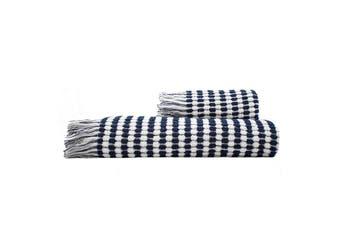 Bambury Corsica Range - 100% Cotton - Bath Towel - 160 x 80cm - White & Navy
