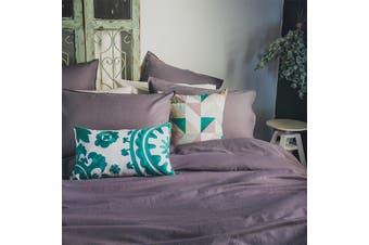 Bambury Linen Quilt Cover Set - 100% Cotton Linen - Dusk - Queen