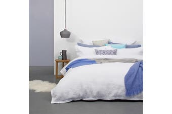 Bambury Elise Quilt Cover Set - Quilted Cotton Polyester Fill - White - Queen