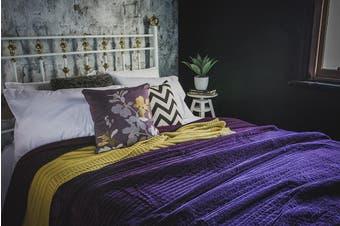 Bambury Cotton Velvet Blanket - 220 x 240cm - Plum