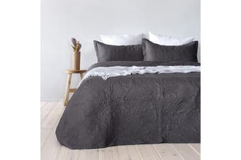 Bambury Paisley Coverlet Set - Bedspread - Embossed - Charcoal - Queen/King